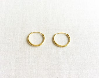 14mm Solid 14k Gold Hoop Earrings - 14k Hoop Earrings - 14k Gold Earrings - Gold Hoop Earrings - Small Gold Hoops Earrings - Tiny Gold Hoops