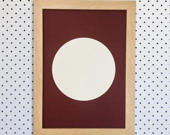 White Acrylic Circle Screen Print on 1.5mm Maroon Board