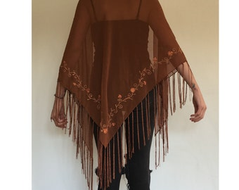 Vintage Embroidered Shawl - Boho Brown Sheer Floral Embroidered Scarf Shawl Wrap - Chiffon Fringe Hippie Shawl - WOM-35