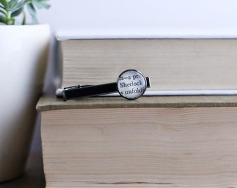 Sherlock book page tie clip.  Up cycled book page tie clip. Great gift for guys. Groom gift. Bookish tie clip.