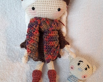 Girl Doll with Cat Hat and Little Teddy Bear Crocheted Amigurumi Toy