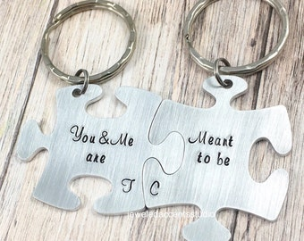 Puzzle Piece Keychain Set, You And Me Are Meant To Be, Couples Keychains, His And Hers, Anniversary Gift, Boyfriend, Husband, Valentine Gift