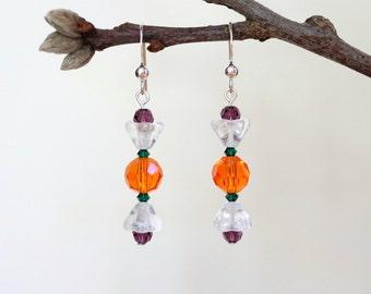 Sterling Silver Earrings, Swarovski Crystal Earrings, Thanksgiving Earrings, Holiday Earrings, Pumpkin Earrings, Fall Earrings, Halloween,