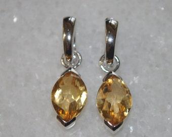 Yellow Citrine & Sterling Silver Genuine Gemstone Dangle Drop Earrings for Women