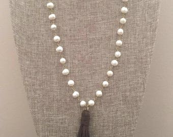 Long Pearl Beaded Chain Necklace With Faux Leather Suede Tassel
