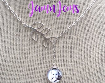 Photo Necklace, Personalized, Photo Gift for Mom, Hand Stamped, Initial Charm, Gift for Wife , Lariat Necklace, Customized Jewelry for Her