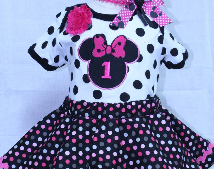 Minnie Mouse inspired 1st birthday outfit, baby girl, Polka dot Minnie outfit,First birthday bodysuit,Disney birthday,Hot Pink and black