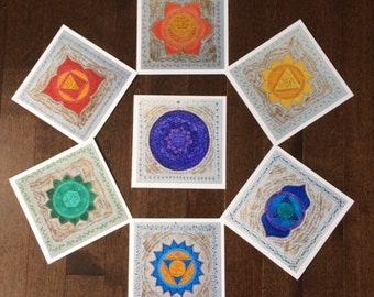Set of 7 Blank Chakra Cards with envelopes