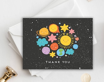 Instant Download    Printable Thank You Card, Birthday Party, Kids Birthday, Space Theme, Stationery