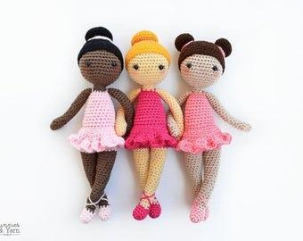 CROCHET PATTERN - Tracey the Ballerina Doll - Amigurumi Doll - 12 in./30 cm. tall - Crochet Toy - Instant PDF Download