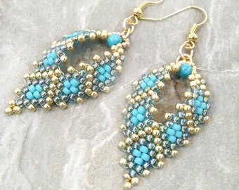 Beaded Earrings, Teal Earrings, Seed Bead Earrings, Russia Leaf Earrings, Hippie Earrings, Boho Earrings, Gypsy Earrings, Unique Earrings