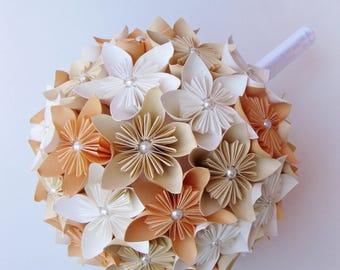 Paper bouquet, wedding bouquet, kusudama flowers, paper flowers, custom bridal bouquet, origami flowers, paper wedding, ivory, orange, white