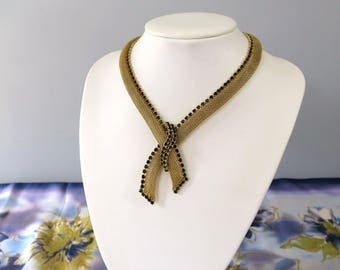 1960's Vintage Gold Mesh Necklace - Tied Ribbon / Rope / Neckerchief Choker Necklace - Gold Tone Collar Necklace with Black Rhinestones