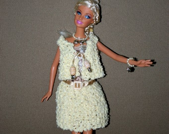 Beige coat for Barbie - knit -fashion royalty