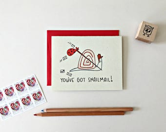 Snail Mail Card / Handmade Greeting Card / Happy Mail / Pen Pal Card / Youve Got Mail