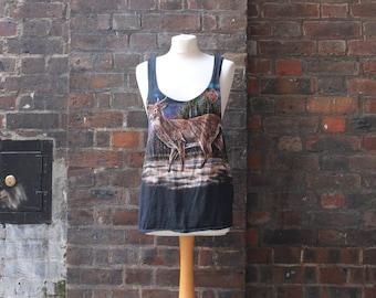 Reworked Vintage Vest | Deer Print Vest | Retro Black T-shirt