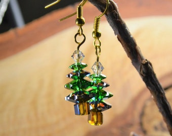 Christmas Earrings with Swarovski Crystals, Gold Tone