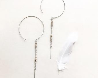 Amber Crystal Threaders, CrystalThreader Hoops, Threader Earrings, Unique Earrings, Boho Earrings, Crystal Earrings, Hoops