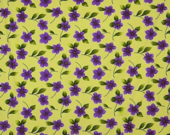 """Dressmaking Fabric, Floral Print, Pale Yellow Fabric, Designer Fabric, Sewing Decor, 41"""" Inch Cotton Fabric By The Yard ZBC7444A"""