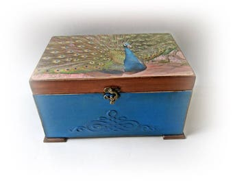 Peacock Wedding Box Peacock Card Box Peacock Money Box Peacock Chest Personalized Peacock Card Holder Antique Chest Gift for Couple