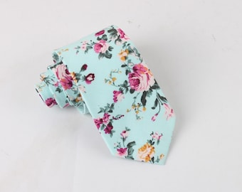 Turquoise Floral Skinny Tie 2.36   -  floral ties, Floral skinny ties, prom, wedding , gift, Vintage, retro, gifts for him, anniversary