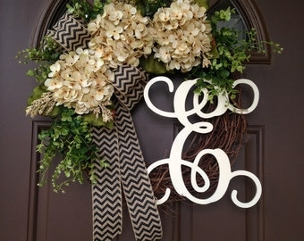 Spring Wreaths for Front Door - Year Round Door Wreath - Everyday Hydrangea Wreath - Grapevine Wreath with Monogram - Spring Door Decor