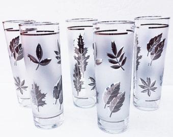 Silver Leaf Tom Collins Glasses, Libby silver leaf, Frosted Bar Glasses, Retro Bar Glasses, set of 5