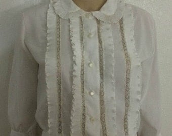 Lolita white blouse / ruffles / lace / Peter Pan collar / 3/4 sleeves / classic / Silky polyester