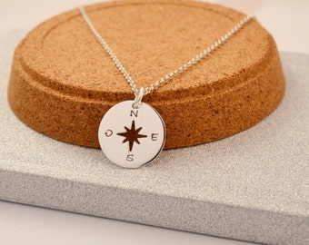 HANDMADE Sterling Silver WIND ROSE Pendant, Wind Rose Necklace, Sailor Necklace, Sailor Pendant, Wind Rose Charm