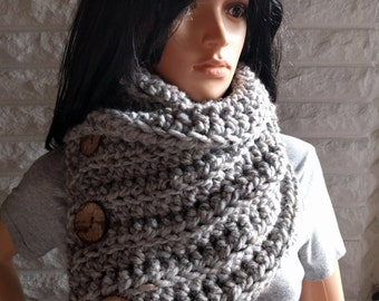 Women's button neck scarf, grey neck cowl, chunky neck scarf, women's winter scarf, accessories, gifts for her, fall, winter, spring fashion