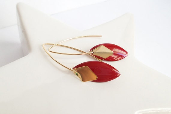 Earrings red and gold crochet long chart modern oval diamond plated Gold filled pampille gold timeless elegant charm