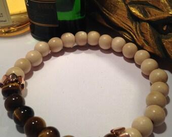 Mens Bracelet, Beaded Bracelet, Tiger Eye, Semi Precious, Beads, Wooden Beads, Gift for Him, Mens jewellery, Mens jewelry, Hipster
