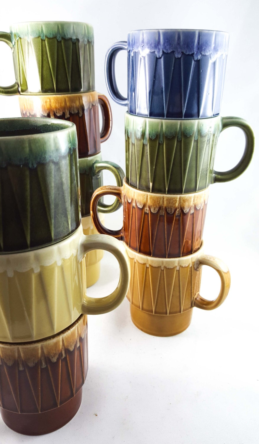 Set Of 9 Super Cool Vintage Ceramic Stacking Mugs