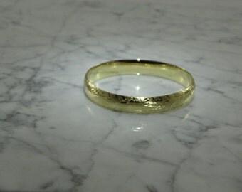 Etched 14K Gold Bangle Bracelet