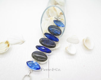 Blue Fire Labradorite and London Blue Topaz Sterling Silver Bracelet