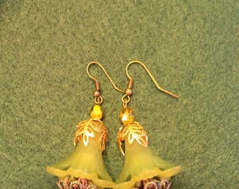 Victorian spring greens and gold bellflower earrings