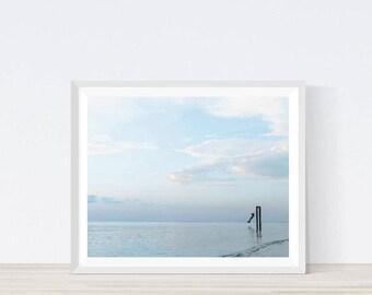 minimalist print, minimalist water, minimalist ocean, blue ocean, color, sky print, sky wall decor, clouds print, ocean photography, #M4