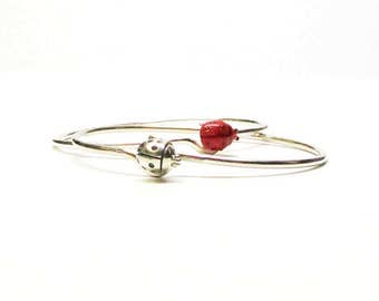 LADYBUG BANGLE, Silver BRACELET, Ladybug Bracelet, Summer Jewelry Trends, Fashion Jewelry, Stacking Bangle, Handmade Bracelets, Boho Jewelry