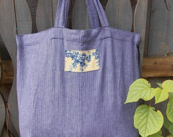 linen tote, shopping bag, market bag, large ,toile,  up-cycled, repurposed, recycled, eco-friendly