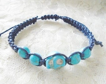 Turquoise skull macrame waxed cord bracelet, Choose your cord colors