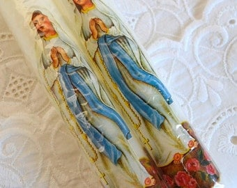 set of two religious white candle Mother Mary candles prayer candles