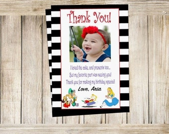 Thank you card digital download, alice in wonderland thank you, tea party thank you