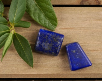 Two Medium LAPIS LAZULI Stones - Lapis Lazuli Jewelry, Lapis Lazuli Pendant, Polished Stones, Natural Stones, Pocket Stones E0152