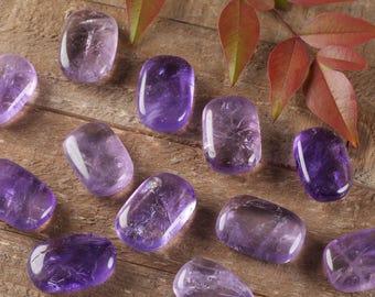One AMETHYST Quartz Crystal Palm Stone -  Purple Amethyst Crystal, Polished Stone, Amethyst Stone, Amethyst Jewelry, Amethyst Pendant E0253
