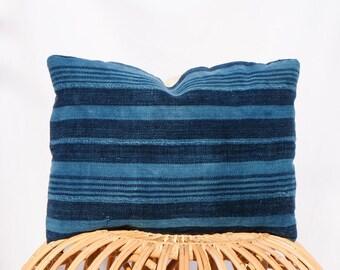 Indigo Striped Mudcloth Pillow Cover / 14x20 / Navy Blue