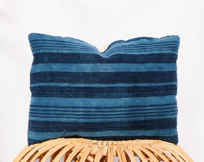 Indigo Striped Mudcloth Pillow Cover / 14x20 / Navy Blue
