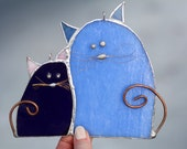 Stained glass cats, Blue and purple, Tiffany's suncatcher, Home decoration, Glass animals, Colourful suncatcher, Tiffany cats.