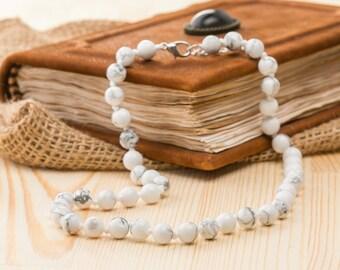 Mens simple necklace White minimalist necklace gemstone necklace mens jewelry howlite necklace Man necklaces Mens Bead necklace minimalism