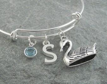 Swan bracelet, silver swan jewelry, initial bracelet, swarovski birthstone, personalized jewelry, monogram bracelet, bird jewelry, bangle