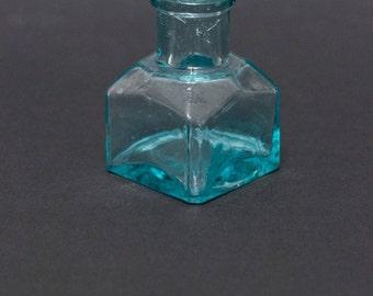 Antique glass ink bottle vintage inkwell aqua green glass decor square shape miniature bottle industrial decor interior accent